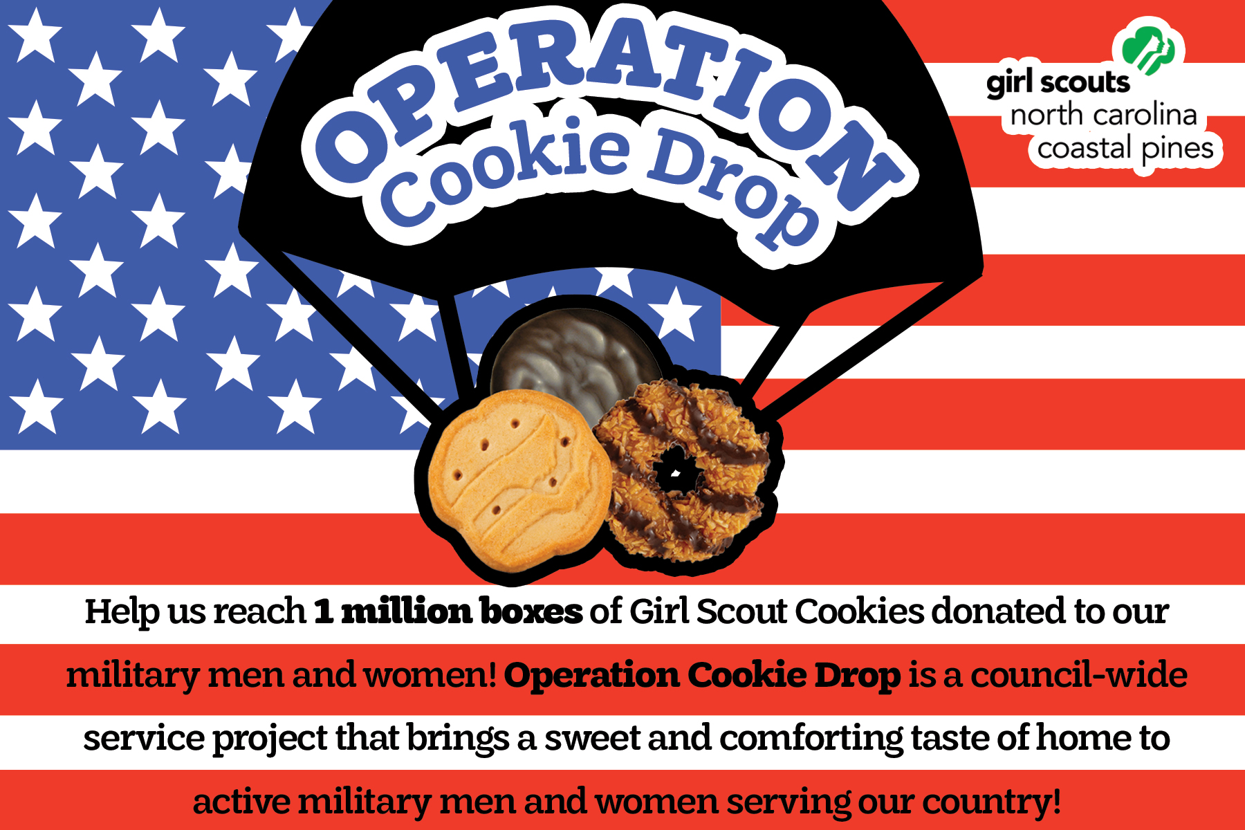 operation cookie drop girl scouts of nc coastal pines